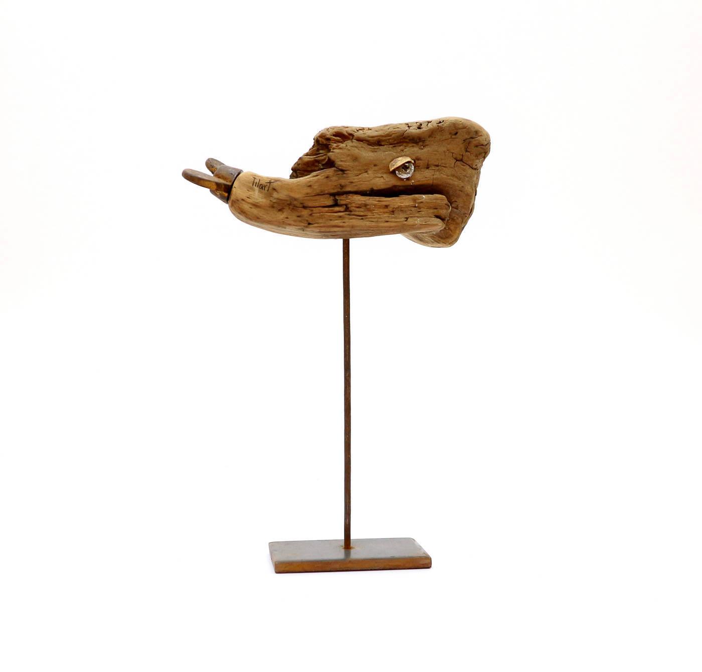 Drveni kit na metalnom postolju, driftwood tehnika